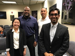 Students Su Yeon and Ashish Hingle visit with Allen Parker and Jamal Quinnert of NASA's Armstrong Flight Research Center